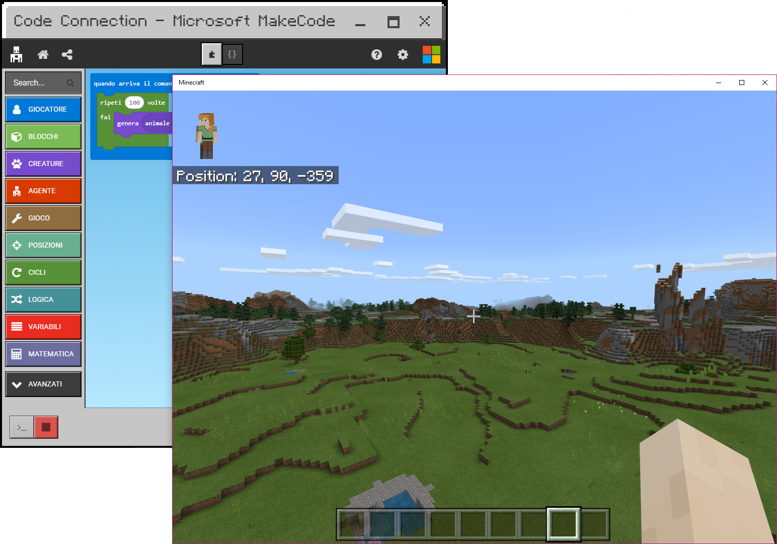 Minecraft e MakeCode